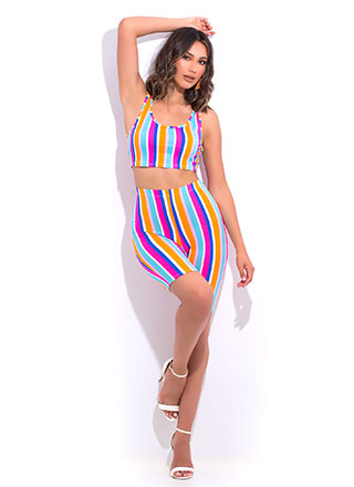 Just Have Fun Striped Top And Shorts Set