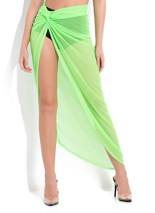 Sarong Song Draped Mesh Maxi Skirt