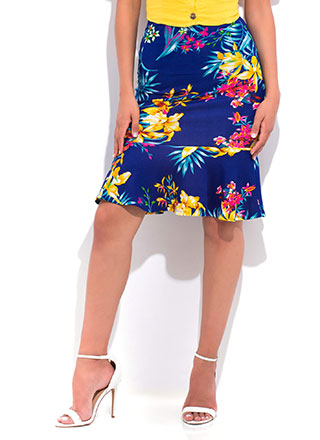 Spring Forward Floral Peplum Skirt