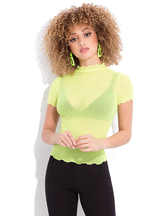 I'm A Frill Seeker Sheer Mesh Top