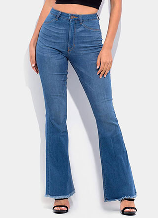 Denim Flare Fringed Bell-Bottom Jeans