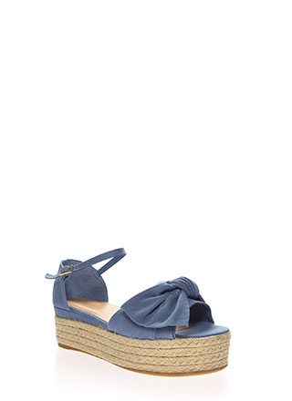 Big Bows Braided Denim Platform Wedges