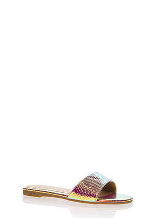 Take It Easy Faux Snake Slide Sandals