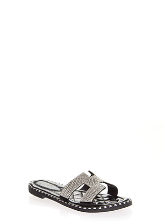 Sparkle Cut-Out Rhinestone Slide Sandals