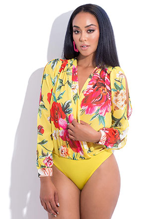 Flowery Scent Blousy Floral Bodysuit