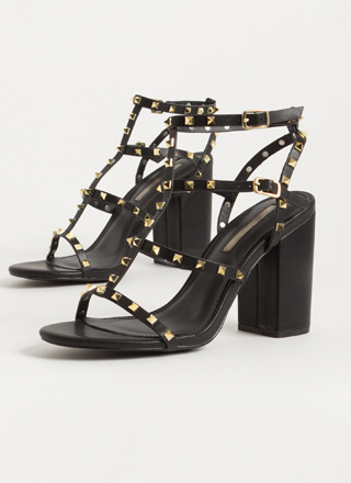 Fancy You Studded Caged Block Heels