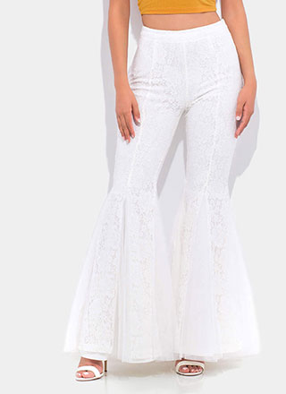 Dramatic Flare Lace Bell-Bottom Pants