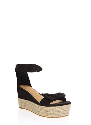 Add Bows Faux Suede Platform Wedges