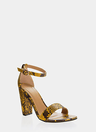 Snake In The Grass Chunky Strappy Heels