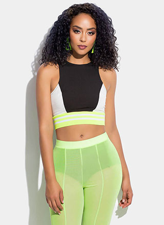 Get Sporty Striped Colorblock Crop Top
