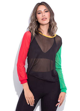 Sheer Leader Colorblock Mesh Top