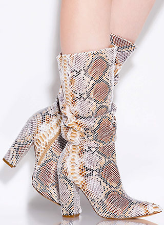Snake Out Pointy Slouchy Knee-High Boots