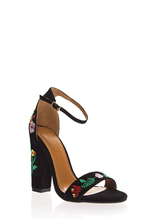 Spring Flowers Chunky Embroidered Heels