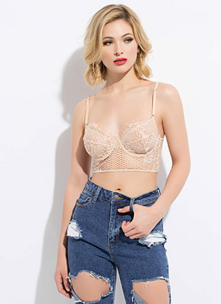 Inside Out Lace And Mesh Bralette Top