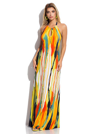 Drip It Like It's Hot Halter Maxi Dress