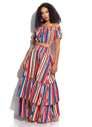 Pattern Party Striped 2-Piece Maxi Dress