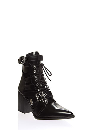 Strap In Lace-Up Faux Leather Booties