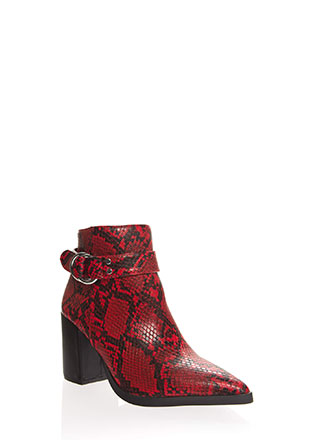 Snake Me Out Pointy Block Heel Booties