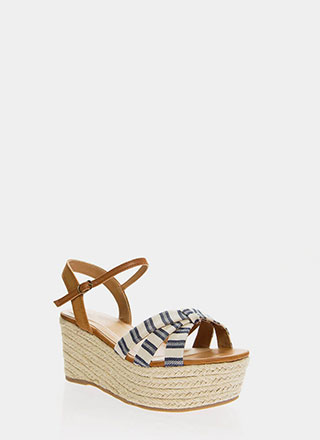 Striped And Strappy Platform Wedges