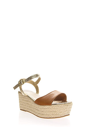 Shiny Scales Braided Platform Wedges