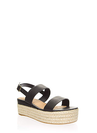 Vacay Strappy Braided Platform Wedges