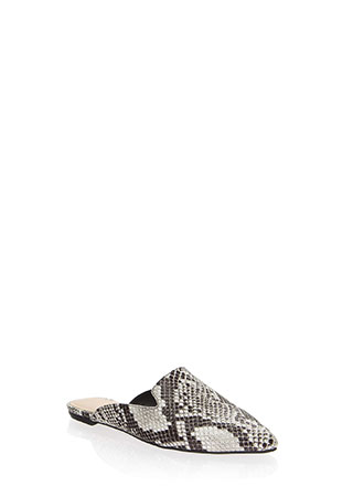 Smoke In Your Eyes Faux Snake Mule Flats