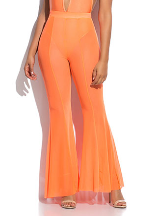 Sheer Fun Mesh Bell-Bottom Pants
