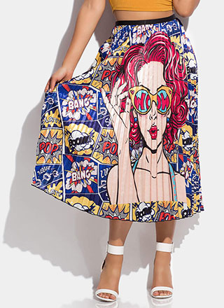 Bang Boom Pop Pleated Comic Print Skirt