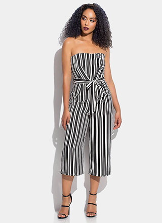 On Stripe Strapless Cropped Jumpsuit