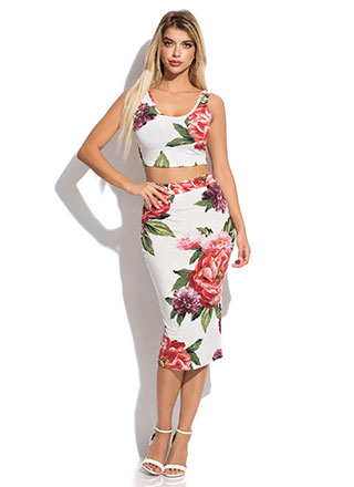 A Big Bouquet Floral Top And Skirt Set