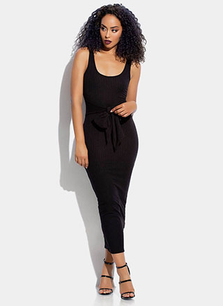 Tied And True Rib Knit Maxi Dress