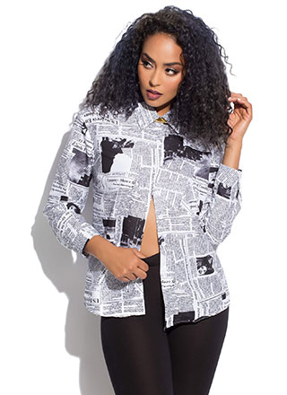 Headline Newspaper Print Button-Up Shirt