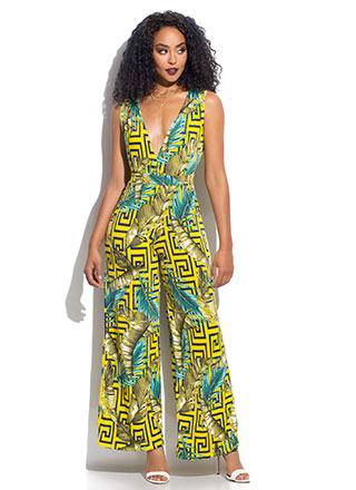 Leaf Me In Paradise Greek Key Jumpsuit