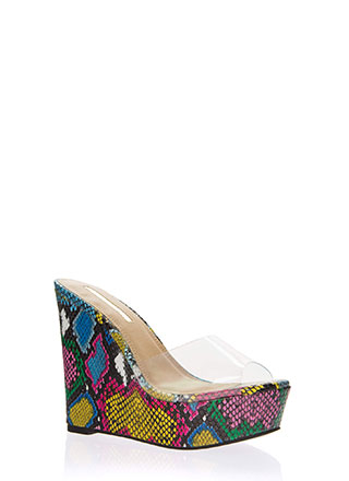 Clearly Must-Have Snake Print Wedges