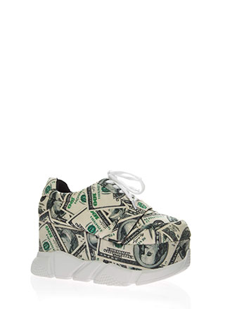 Money Talks Platform Wedge Sneakers