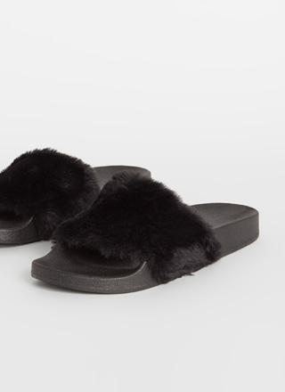 Soft On You Faux Fur Slide Sandals