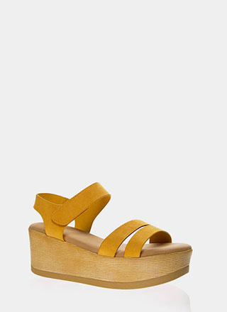 Outing Strappy Velcro Platform Wedges