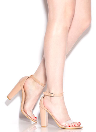 Steer Clear Chunky Faux Patent Heels
