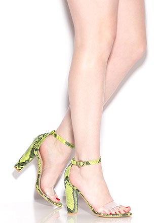 Steer Clear Chunky Faux Snake Heels
