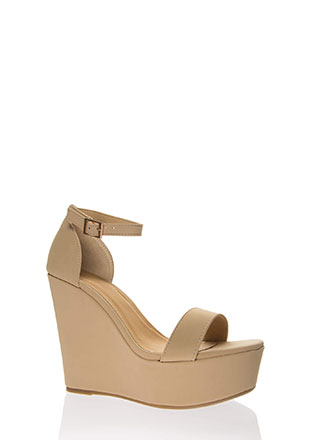 I Need You Faux Nubuck Platform Wedges