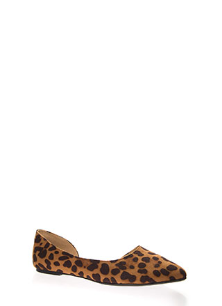 Living For Leopard Side Cut-Out Flats