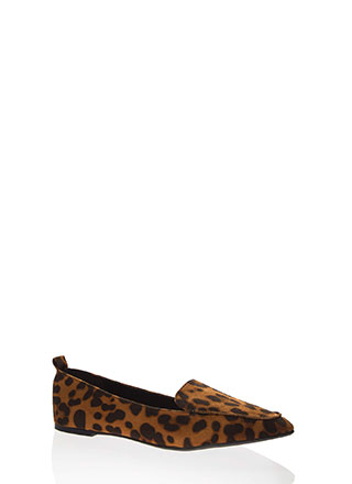 Living For Leopard Pointy Smoking Flats