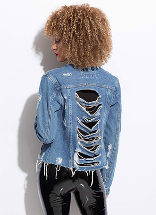 Back Up Chained Destroyed Jean Jacket