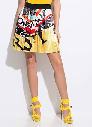 My Statement Pleated Letter Print Skirt