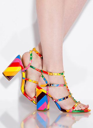 Fancy You Studded Rainbow Block Heels