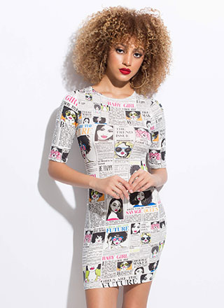 Female Headliners Newsprint Minidress