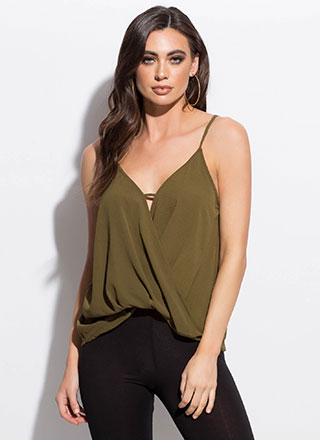 Tuck Yeah Rolled Hem Surplice Top