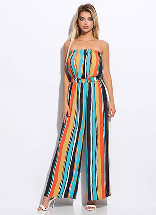 Cabana Striped Strapless Jumpsuit