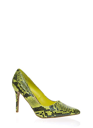 Snake Bite Pointy Scaled Pumps