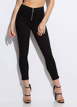 Ring Of Fire Zipper-Front Skinny Pants